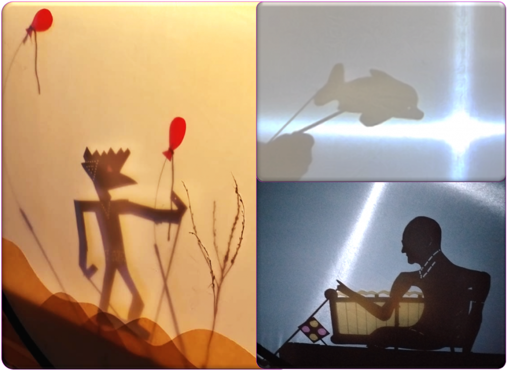 A grid of three images, all of homemade shadow puppets. Two are puppets of people, one is a puppet of a dolphin.